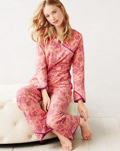 Asian Wrap Pajamas in Soft Mauve Mums - Garnet Hill