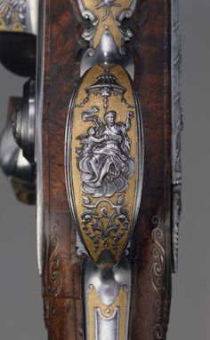 Detail from a flintlock gun made by Louis Jaley, Nicolas Carteron Joseph Blachon, Saint-Étienne, France, 1735