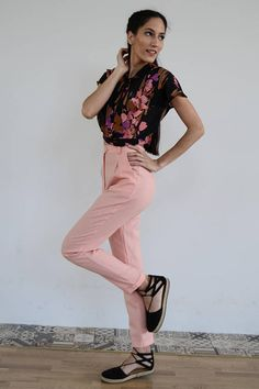 High Waisted Linen Pants /Pink Pants/ Vintage Pants / High Vintage Pants, Pink Pants, High Waist, Capri Pants, Trousers, Spring Summer, Trending Outfits, Etsy, Fashion