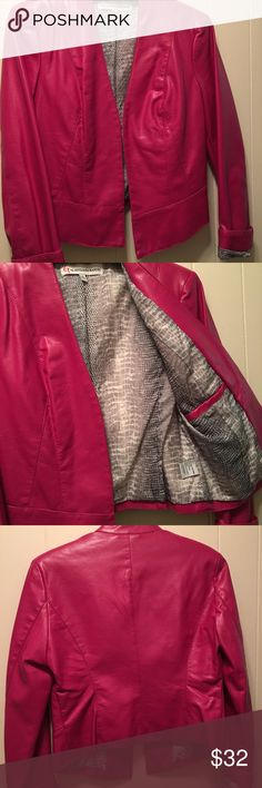 G by Giuliana Rancic ultra luxe moto jacket G by Giuliana Rancic ultra luxe moto faux leather jacket with a patterned grey and white lining.  Very cool looking and can be dressed up or down, like new. G by Giuliana Rancic Jackets & Coats