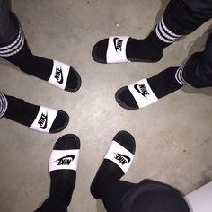 #nike #blackandwhite #socks #flipflops