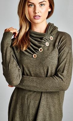 This extended length knit cowl neck topis great. We love the big button detail on the front and the lightweight material that transitions well from season to season.  96% Polyester 4% Spandex  Hand wash only | Shop this product here: spree.to/33r | Shop all of our products at http://spreesy.com/moda    | Pinterest selling powered by Spreesy.com