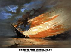 """This patriotic print by William Bauly was issued by New York art publisher William Schaus in September 1861. """"Fate of the Rebel Flag"""" has a militantly Unionist theme. In a spectacular nocturnal scene, a large warship sinks and burns on a calm sea littered with debris. The flames take on the configuration of the red, white, and blue flag of the Confederacy, the blue field with seven stars being formed by the night sky showing through the flames. Lightning strikes the flag from the upper left."""