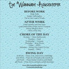 Cleaning Schedule for Mom's who work outside the home.