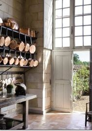 open style kitchen with hanging copper pots  Maybe i could hang pots from my metal shelves....