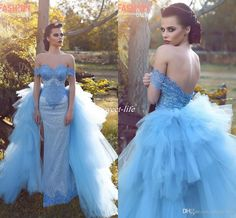 Sky Blue Off Shoulder Evening Dresses for Bride Side Split Lace Backless with Detachable Train 2017 Women Pageant Party Gown Long Prom Dress Evening Dresses Ziad Nakad Prom Dresses Online with 163.0/Piece on Sweet-life's Store | DHgate.com