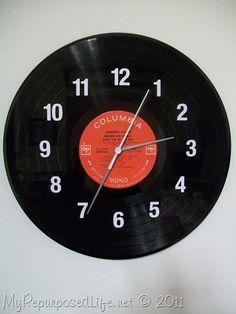 DIY vinyl record clock - My Repurposed Life® Rescue Re-imagine Repeat Vinyl Record Projects, Vinyl Record Clock, Make A Clock, Diy Clock, Clock Ideas, Old Records, Vinyl Records, Woolen Crafts Wall Hanging, Deco Tv
