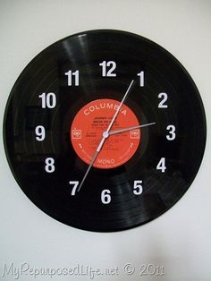 cut using silhouette clock face attach to  old record and use clock works from cheap clock