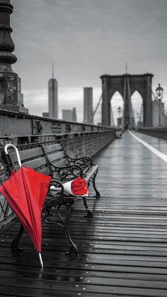 An elegant red umbrella resting on a bench, between afternoon showers on the iconic Brooklyn Bridge. Splash Photography, Black And White Photography, Black White Red, Black White Photos, Color Splash, Color Pop, Colour, Mosaic Crosses, Umbrella Art