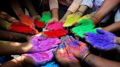 Holi - Indian Festival of Colors, welcoming Springtime. Students holding paint powder of various colors pose as they celebrate Holi, the Indian festival of colours, in the western Indian city of Ahmedabad March (REUTERS/Amit Dave) # Hindu Festivals, Indian Festivals, Holi Festival Of Colours, Holi Colors, Creating Communities, Holi Celebration, Happy Holi, Team Building Activities, Art Journals
