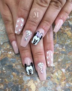 Heart shape and airplane nails, There are 23 elegant and beautiful wedding nail ideas. No matter which you like, you will definitely find the right design here. Disney Acrylic Nails, Disney Nails, Summer Acrylic Nails, Best Acrylic Nails, Beautiful Nail Designs, Cute Nail Designs, Acrylic Nail Designs, Cute Nail Art, Cute Nails
