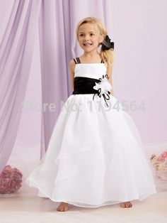 >> Click to Buy << Free Shipping Discount Flower Gril Dresses for Wedding White and Black Organza Custom Size First Communion FH47 #Affiliate