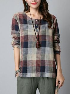 Women Spring Plaid Check Long Sleeve Buttons Tartan Shirt Casualrricdress - Shirt Casuals - Ideas of Shirt Casual - Women Spring Plaid Check Long Sleeve Buttons Tartan Shirt Casual rricdress Tartan Shirt, Plaid, Blouse Styles, Blouse Designs, Baggy Tops, Linen Blouse, Ruffle Blouse, Shirt Blouses, Blouses For Women