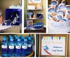So many great details in this surf / beach themed boys birthday Slimming World, Surfer Party, Hawaian Party, Luau Party, Beach Party, Ocean Party, Beach Pool, Party Snacks, Boy Birthday Parties