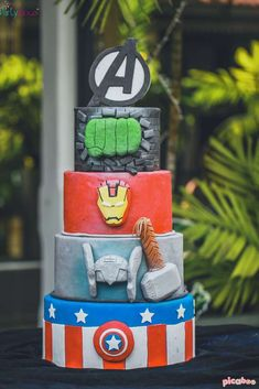 Check out this cake at an  Avengers birthday party! See more party ideas at CatchMyParty.com!