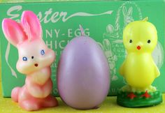 Great Set of Three Easter Candles with Original Package, Gurley Candles