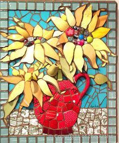 Болтаясь в красном ваза Anja Hertle ~ Maplestone Галерея ~ современного мозаичного искусства