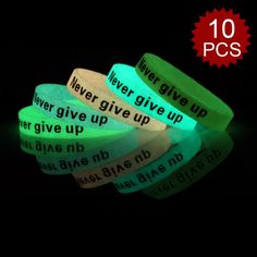 (Price/10 Pcs)GOGO Never Give Up Silicone Wristbands, Glow-in-the-dark Rubber Bracelets