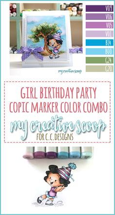 Girl Birthday Party Copic Marker Color Combo - Here's a fun Copic Marker Color combo using CC Designs Stamps -- Perfect for a handmade birthday card. Birthday Card Drawing, Girl Birthday Cards, Birthday Wishes Cards, Handmade Birthday Cards, Zentangle, Doodle, Copic Markers Tutorial, Color Of The Day, Coloring Tutorial