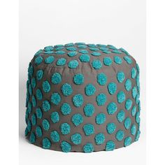 Nordstrom at Home 'Tufted Spots' Pouf Grey Asphalt/ Blue Porcelain One Size