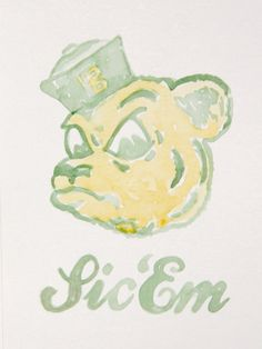 Original Baylor Sailor Bear watercolor painting // Love Sailor Bear!