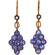 Cathy Waterman Tanzanite Scalloped Earrings (30 090 SEK) ❤ liked on Polyvore