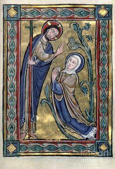 Medieval Books, Medieval Manuscript, Medieval Art, Illuminated Manuscript, Noli Me Tangere, Medieval Paintings, Christian Artwork, Christ Is Risen, Life Of Christ