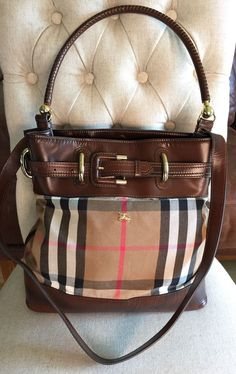 adba081938d6 100% Authentic Burberry House Check  amp  Leather Bag Large used twice !   Burberry