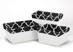 Boxes and Storage 117398: Black White Trellis Organizer Storage Basket Liners Fits Small Medium Large Bin -> BUY IT NOW ONLY: $34.99 on eBay!