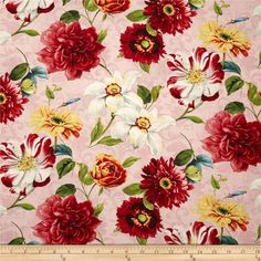Rainbow Garden Large Floral Allover Pink from @fabricdotcom  Designed by Lisa Audit and licensed to Wilmington Prints, this cotton print fabric is perfect for quilting, apparel and home decor accents. Colors include black, red, orange, yellow, white, shades of brown, shades of pink, shades of blue, and shades of green.