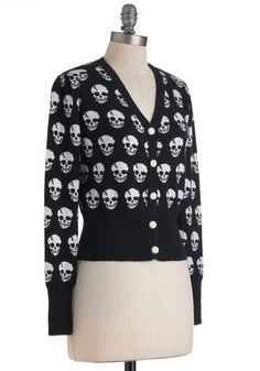 Large Skulls in Session Cardigan in Black | Mod Retro Vintage Sweaters | ModCloth.com