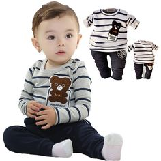 Free shipping 2015 cute baby bear suit suit selling baby boy dress clothing set High Quality baby clothing