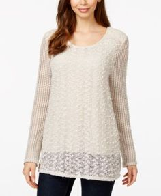 Style & Co. Lace-Inset Top, Only at Macy's