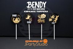 Bendy and the ink machine cupcake toppers Bendy Party