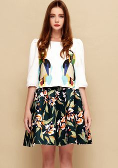White Half Sleeve Embroidered Top With Black Floral Skirt $45