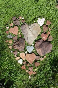 This would be so fun to make if you could find a bunch of these heart-shaped rocks. I Love Heart, With All My Heart, Happy Heart, Heart In Nature, Heart Art, Unique Garden, Garden Art, Heart Shaped Rocks, Stone Heart