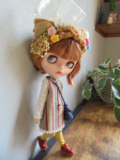 ◆ ブライスちゃん Outfit ストライプワンピースとくま耳帽子 6点セット ◆