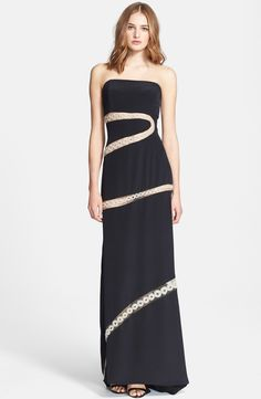 Emilio Pucci Embroidered Silk Cady Strapless Gown | Nordstrom