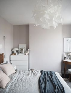 Soft blush pink bedroom reveal BEFORE + AFTER - Farrow & Ball Peignoir - West Elm mid-century furniture - cate st hill Lace Bedroom, Pink Master Bedroom, Pink Bedroom Walls, Blush Pink Bedroom, Pink Bedroom Decor, Pink Bedrooms, Pink Bedding, Pink Walls, Bedroom Colors