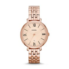 A rose goldtone dial with reliable quartz movement makes the Fossil Jacqueline watch a beautiful addition to any attire. Water-resistant up to 50 meters, this functional analog watch features a contemporary rose goldtone stainless steel bracelet.