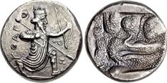 Ancient Coin Showing The Earliest Greek Map and The First Relief Map Known, C. 350-333 BCIt has been interpreted that this remarkable reverse design on this coin is a relief map of the hinterland of...