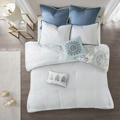 Comforters & Comforter Sets You'll Love in 2021 | Wayfair Blue Comforter Sets, Blue Bedding, Bedding Sets, King Beds, Queen Beds, How To Clean Pillows, King Size Duvet Covers, Ruffle Bedding, Park