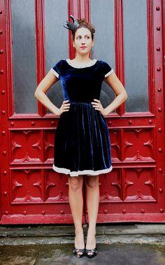 Blue Velvet Cocktail Dress MADE TO ORDER. £280.00, via Etsy.