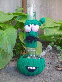 Bong cozy knitted bong cozy Crocheted cactus