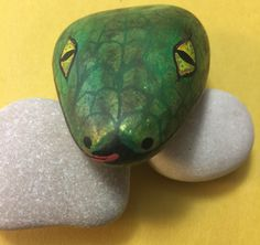 Painted rock snake