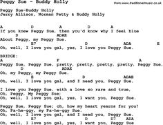 Song Peggy Sue by Buddy Holly, with lyrics for vocal performance and accompaniment chords for Ukulele, Guitar Banjo etc.