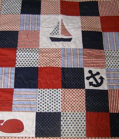 Baby Boy Nautical Quilt Blue Red & White by BlackTulipQuilts, $145.00