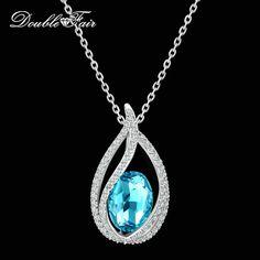 Double Salon Unique Zircon Grand Bleu Cristal Collier et Pendentifs Argent Couleur Élégante De Bijoux De Mariage Pour Les Femmes DFN292