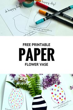 Free Printable Flower Vases that you can Color for May day or Mother's Day or Anyday