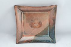 Stoneware pottery square dish, copper and turquoise blue glaze, sun stamp - pinned by pin4etsy.com